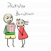 Kiddish sketch of a doodle brother holding big gift box for his sister on English note book page for the occasion of Raksha Bandhan festival.  poster