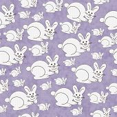 Purple and White Bunny Textured Fabric Pattern Background that is seamless and repeats poster