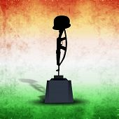 Illustration of Amar Jawan Jyoti on vintage national tricolors background for 15th of August, Indian Independence Day celebrations.  poster