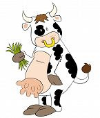 This is a funny dairy cow with grass blades. poster