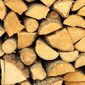 Heating. Closeup of firewood fire wood as background backdrop texture. Square format. poster