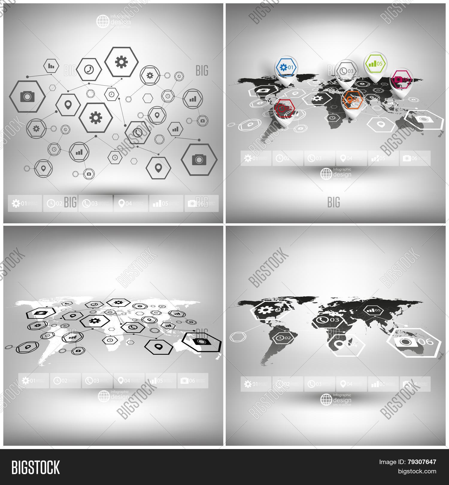 Set world maps vector photo free trial bigstock set of world maps in perspective infographic vector templates for business design gumiabroncs Images