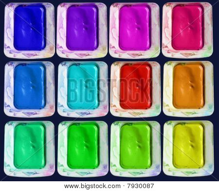 Set of isolated colors of watercolor paint-box, on black background