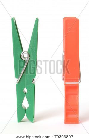 Two Clothespins Isolated On White Background