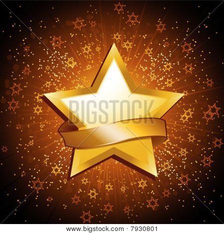 Gold Celebration Star And Banner