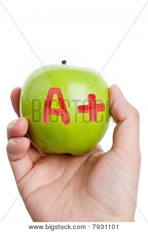 Green Apple And A Plus Sign
