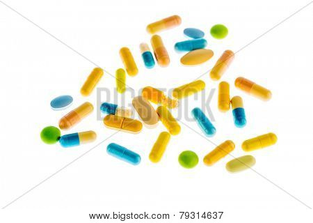 many tablets are on a light background. symbolic photo for medicine and drugs the pharmaceutical industry