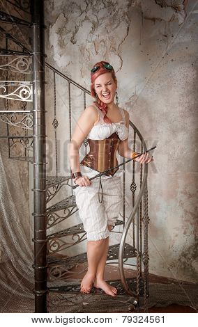Beautiful Screaming Steampunk Woman With Whip On The Stairway