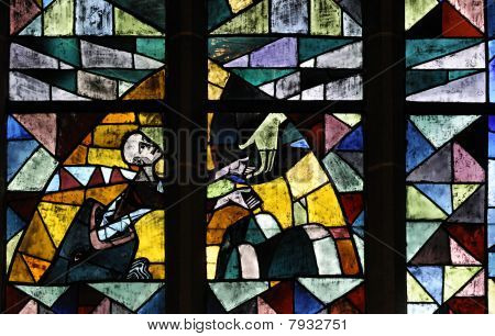 This photograph represent a stained glass in Bremen Cathedral (Bremer Dom or St. Petri Dom zu Bremen). It illustrates a hand of hope. poster