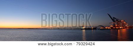 Evening at Felixstowe Docks Suffolk.