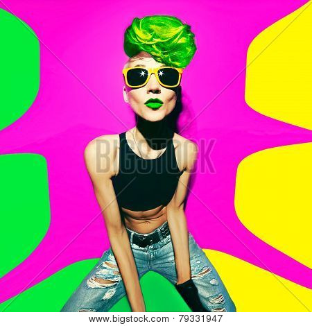 Disco Punk Fashion Style Club Party Girl