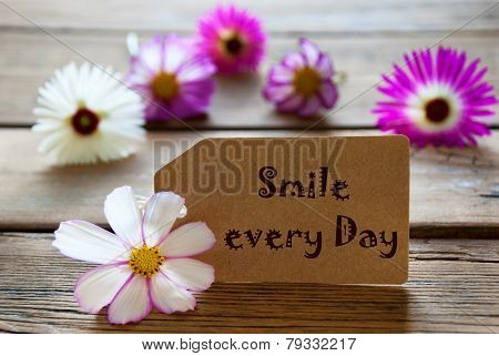 Label With Life Quote Smile Every Day With Cosmea Blossoms