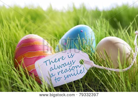 Happy Easter Background With Colorful Eggs And Label With Life Quote