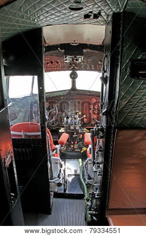 Cockpit Of Airplane Li-2