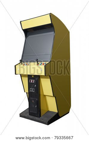 Vintage arcade video game isolated on white