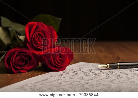 Still Life Of A Fountain Pen, Paper And Flowers Roses