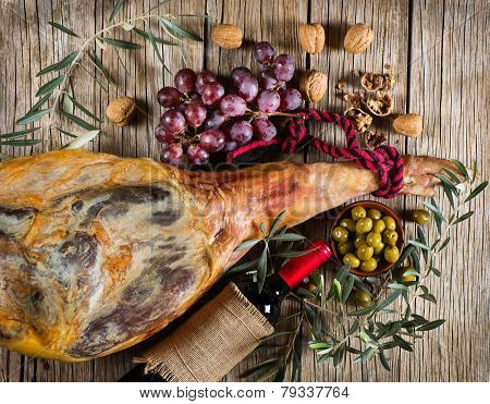 Ham, Wine, Grapes And Olives, Top View