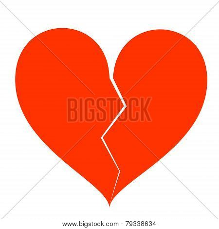 Broken Heart Isolated On White