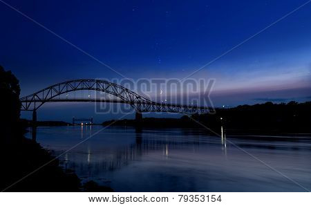 Calm Cape Cod Canal Below A Star-studded Sky