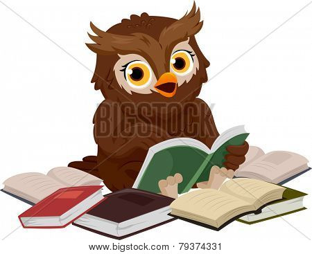 Illustration of an Owl Smiling Happily While Reading a Book