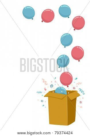 Illustration of a Gender Reveal Party Using a Box Filled with Blue and Pink Balloons