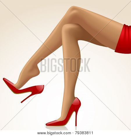 Cross-legged legs of girl in high-heeled red shoes and short red skirt isolated on white background. Fashion concept. Vector illustration