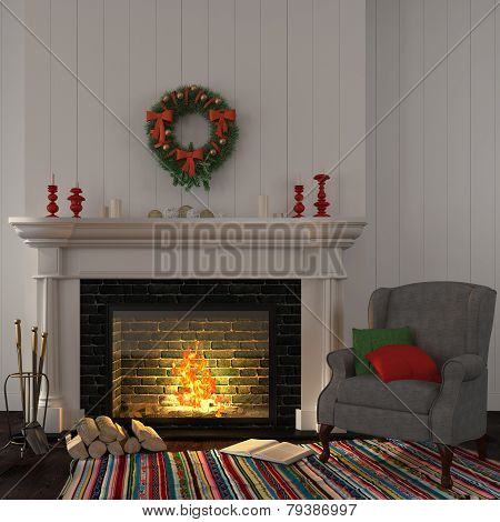 Vintage Gray Armchair Near The Fireplace With Christmas Decor