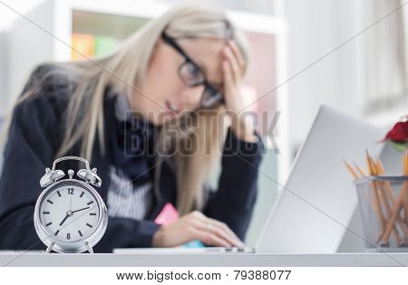Stressful woman in office
