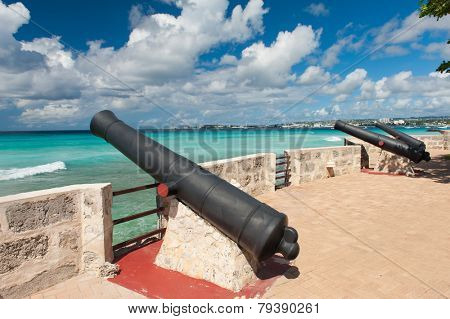 Needham's Point is a medieval fortification with cannons on the tropical Caribbean island of Barbados poster