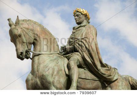 statue Napoleon Bonaparte in Diamant Square Ajaccio Corsica France poster