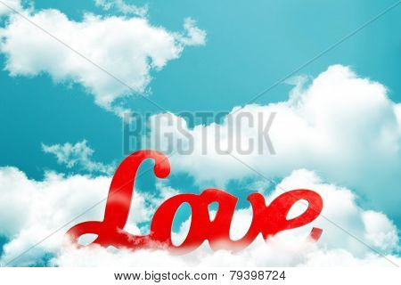 The word love red on sky background