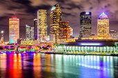 Tampa, Florida, USA downtown city skyline on the Hillsborough River. poster