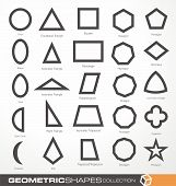Set of geometric shapes. Basic geometry objects vector collection. Math info graphic with geometric elements. Education and science  theme. Design elements collection. poster