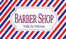 Red, White & Blue Barber Shop Sign