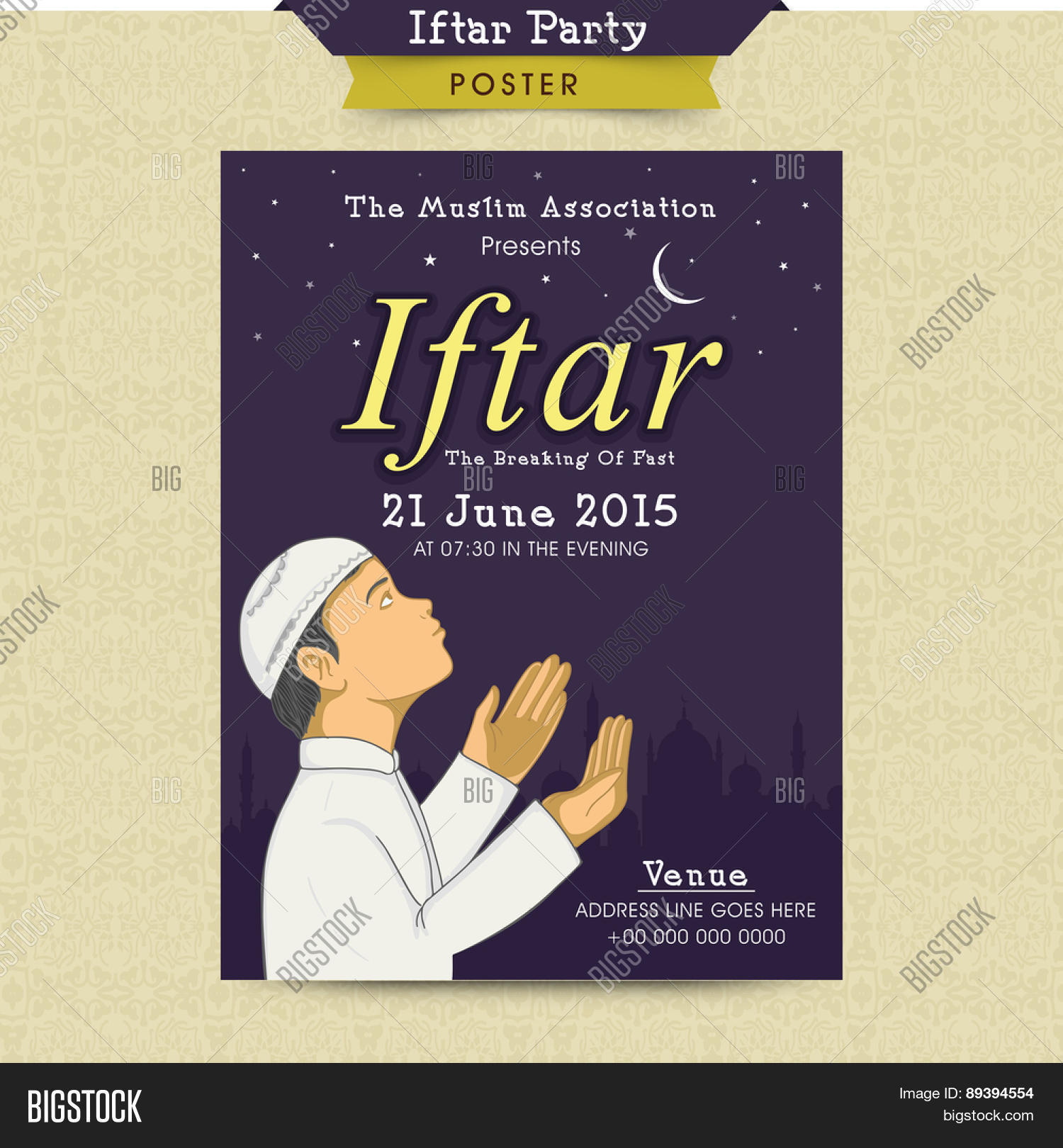 Beautiful invitation vector photo free trial bigstock beautiful invitation card with illustration of a muslim boy offering namaz islamic prayer for stopboris Images