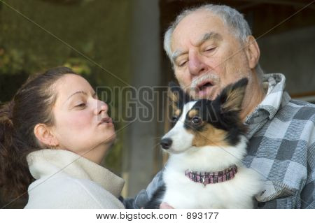 expressives portraits of a grand father girl and dog poster