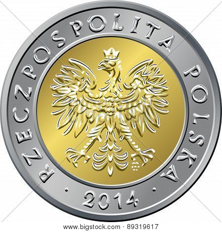 vector obverse Polish Money five zloty gold and silver coin with eagle in a golden crown poster