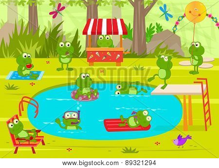 Frogs Pool Party