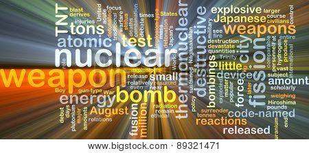 Background concept wordcloud illustration of nuclear weapon glowing light
