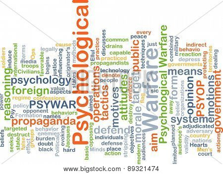 Background concept wordcloud illustration of psychological warfare