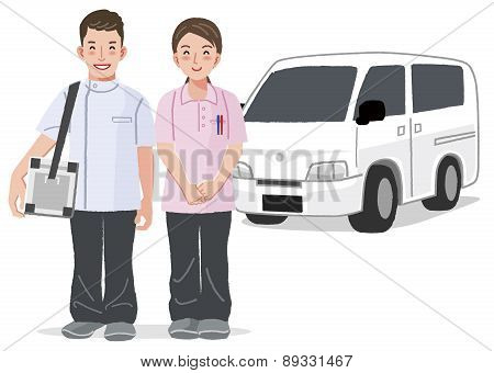 Medical Care Visiting Service At Home Concept With Car In The Background