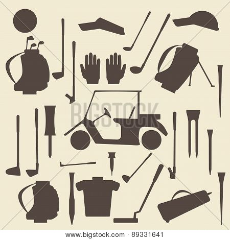 Golf sport items silhouette icon set.  Driver, wood, iron, wedge, putter golf clubs and cart . Tee a