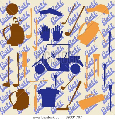 Golf sport items silhouette icon set.  Driver, wood, iron, wedge, putter golf clubs and cart . Tee,