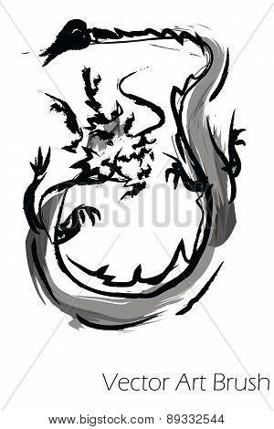 Vector dragon china paint