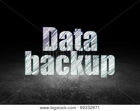 Information concept: Glowing text Data Backup in grunge dark room with Dirty Floor, black background, 3d render poster
