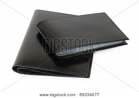 Cover Of Black Leather For Documents And Business Card Holder