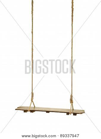 Shabby wooden swing with rope on white background.
