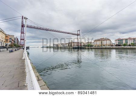 Ultra Wide view of the Bizkaia suspension bridge and promenade