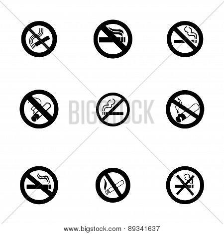 Vector no smoking icon set