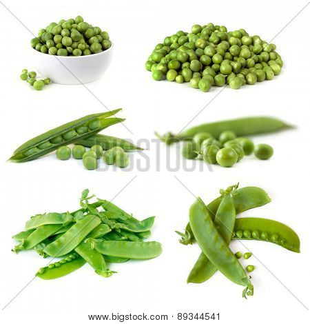 Peas collection isolated on white.